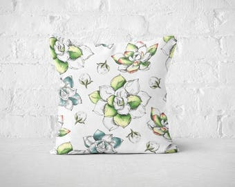 Succulents Pillow Cases | Botanical Throw Pillow Covers | Nature Accent Pillows | Plants Bed Pillow Cases | Decorative Pillows | Green