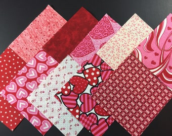 Quilting squares charm pack 4 inch squares, 4x4 assortment of red and pink squares