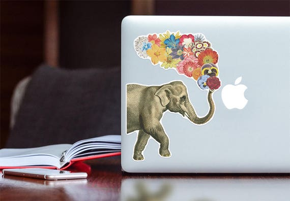 Elephant Laptop decal Vinyl sticker, laptop stickers, stickers, sticker, stickers laptop, elephant decor, labels and tags, elephant STC020