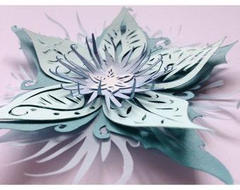 Cut paper flower greeting card