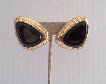 Trifari Clip On Earrings, Gold Tone Black Enamel Clip Earrings, Large Black Enamel Clip On Earrings, Trifari Jewelry, Black Earrings