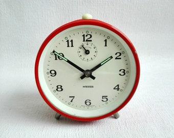 Vintage Orange  Alarm Clock, Mechanical Clock,Metal, Manual Winding, Made in Germany by WAMDA, German Vintage,1970's