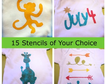 15 Stencils of Your Choice - Custom Stencil Set - Create Your Own Stencil Set - Onesie Decorating Station - Baby Shower Game