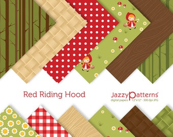 Red Riding Hood digital papers pack for scrapbooking DP093 instant download