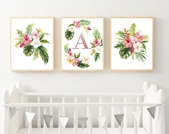 Tropical Nursery wall art, Girl Nursery prints set, Baby Girl Nursery Art Prints, Set Nursery Art 3 prints, Girl room decor personalize