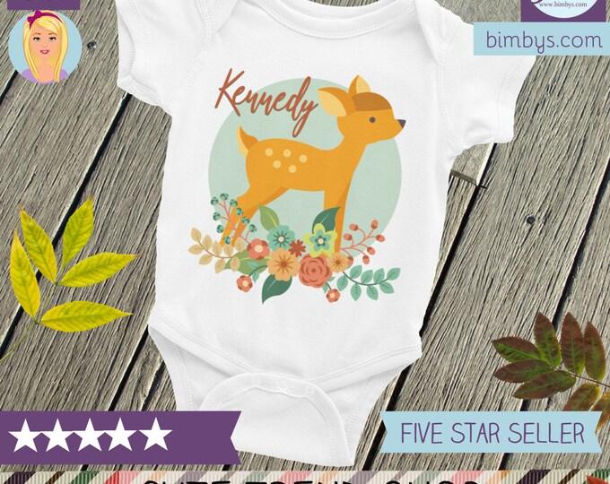 Custom Name Floral Baby Onesie® , Custom name onesie, Custom Name Fawn Baby Bodysuit, Personalizd Name Baby Deer, Personalized onesie, Name