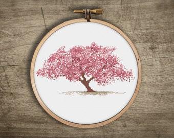 asian cherry blossom tree cross stitch pattern ++ vintage modern bonsai ++ pdf  INsTAnT DOwNLoAD ++ diy craft ++ handmade design