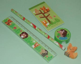 Set of stationery - forest animals