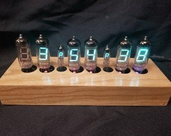 6 Digit Alarm RGB VFD Clock, Cherry Semi Gloss