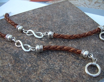 Couples Gift, His and Hers Set of  Infinity Bracelets, Leather Bracelet, Mens Bracelet, Womens Bracelet, Couples Bracelets, Leather Jewelry