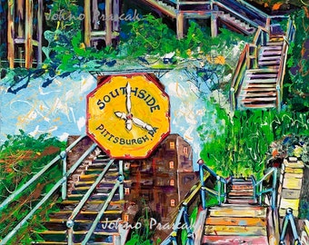 Pittsburgh South Side Steps, city steps, staircase, Pittsburgh print, Pittsburgh wall art, man cave art, Johno Prascak, Johnos Art Studio