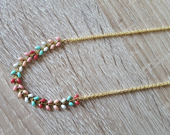 Gold enamelled ears Pink White chain/necklace turquoise necklace thin gold pastel / spring necklace / multicolor necklace