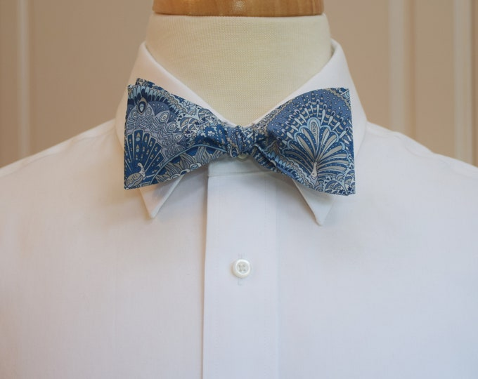 Men's Bow Tie, Liberty of London Peacock Parade shades of blue print, groomsmen/groom bow tie, wedding bow tie, classic tuxedo accessory