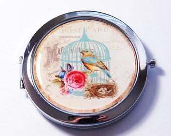 Pocket mirror, compact mirror, Bird compact mirror, mirror, Nature pocket mirror, bird, bird cage, flower (2741)