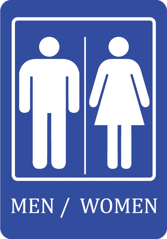Blue Men / Women Bathroom Sign Quality Sign Plastic Outdoor