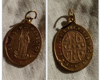 Saint Benedict Brass Medal Antique 19th Century French Protecting Medal #sophieladydeparis