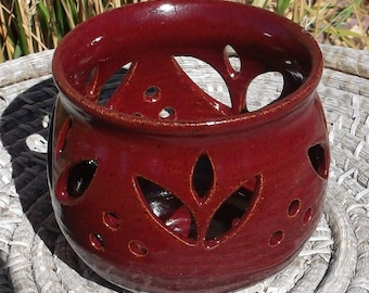 Christmas Red Candle Holder - Red Tulip - Handmade Pottery