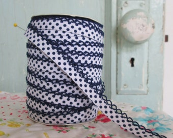 Navy on White Polka Dot Double Fold Crochet Edge Bias Tape (No. 215)