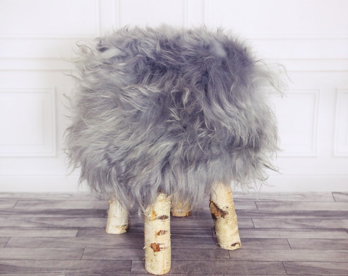 Wood Stool | Grey Fur Stool | Sheepskin pouf | Icelandic Sheepskin stool | Vanity Stool | Birch tree stool | Grey stool