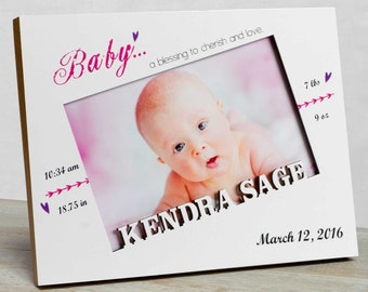 Personalized Baby Picture Frame, Baby Girl Picture Frame, New Baby Girl Frame, Baby Girl Birth Frame, Baby Girl Frame, Baby Girl