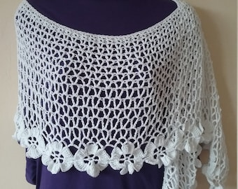 Spring Blooms Crochet Wedding Bridal Summer Lace White Shawl Wrap  -  ready to ship