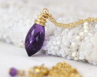 Amethyst Necklace - Elegant Necklace - Amethyst Jewelry - Amethyst Gold Necklace - February Birthstone - Purple Necklace