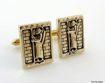 Vintage Swank Cufflinks Medieval Gold Tone