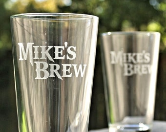 Beer Set of Pint Glasses, Personalized Pint Glasses, Etched glass, Home Brew, Birthday Gift for Him, Man cave, Craft Beer Pint Glass