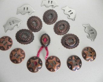 Vintage Western Slide Buckles Armadillo Star Conch , 16 Copper and Silver Buckles Lot