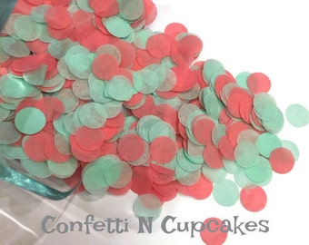 Tissue Paper Confetti, mint and coral circle confetti, party decor, table sprinkle, party confetti, 1st birthday decor, invitation confetti