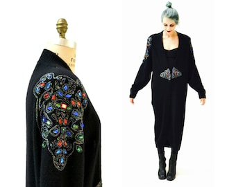 Vintage Black Cashmere Sweater Jacket Beaded Rhinestone Long Black Sweater Duster Large Cashmere Wool