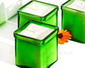 Soy Candle - Fragrance Free Candle -  Recycled Glass Candle Holder - Green Candle