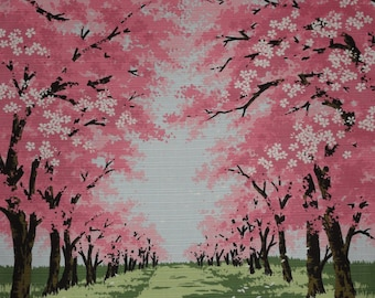 Japanese Cherry Blossom Tree Fabric Furoshiki 'Sakura Road' Pink and Green Cotton Fabric Square w/Free Insured Shipping