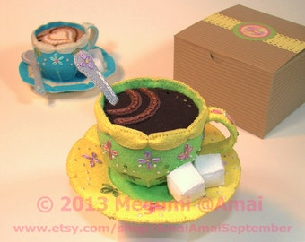 Hand-Stitched Felt Cup of Coffee with Saucer, Spoon & Sugar Cubes -tea time food art drink kitchen cute gift