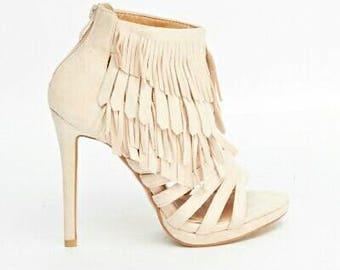Suedette fringed ankle heel sandals, black, beige and camel