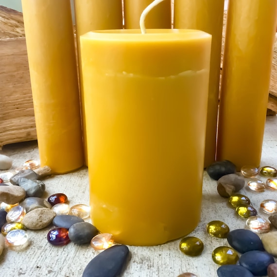 100% Pure Beeswax Pillar Candle-4x6inch Organic Beeswax Pillar Candle