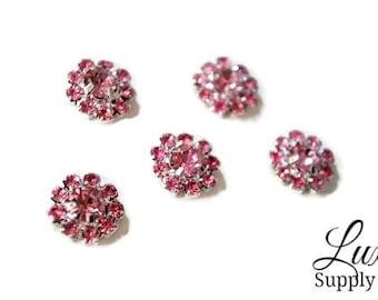 PINK Rhinestones - 12mm Metal Rhinestone Embellishments  - DIY Birthday Party Supplies, DIY Craft Cabochons& Gems - MR179 12mm Pink Flatback