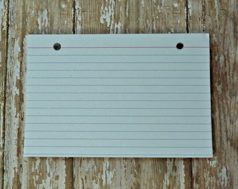 You choose 3 x 5 or 4 x 6 set of 50 lined index cards with hand drilled holes for Artbysunfire binders