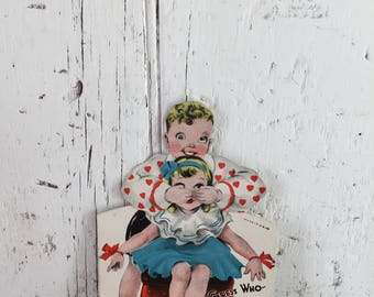 vintage valentine mechanical peek a boo guess who hands and eyes move used valentine to repurpose