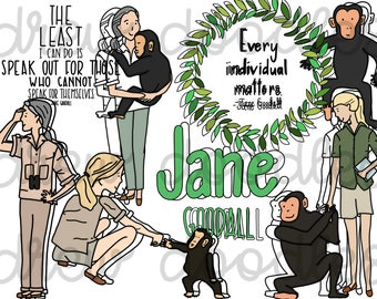 Jane Goodall Digital Clip Art Set- Color and Black Line COMBO- Instant Download