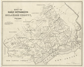Delaware County 1862  Pennsylvania  Wall Map with Homeowner Names - Genealogy - Reprint