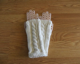 Alpaca Fingerless Gloves, Handmade Gloves, Wrist Warmers, Texting Gloves, White