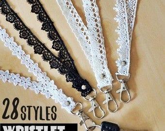 White lace key fob wristlet, keychain wristlet, wristlet strap ,feminine id badge ,id badge holder nurse, teacher lanyard, key lanyards
