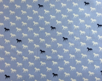 Derby Horses in Blue - cotton fabric - half yard or more