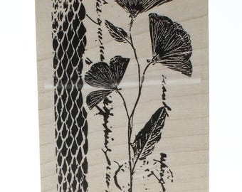 Elegant Poppies Garden Flower Stampington And Co Wood Mount Rubber Stamp