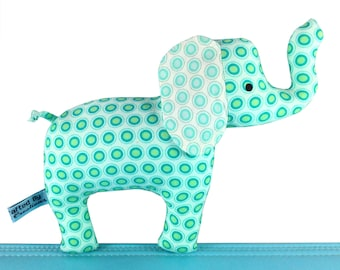 Elephant Baby Rattle - Soft Toy - Peacock Blue Green