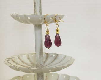 Quality Czech Glass Earrings, Gold-Filled Earwires, Victorian, Civil War Appropriate - Affordable Elegance