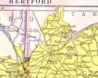 Hertford County England Map Antique Copper Engraved European Cartography 1892 Victorian Geography Art To Frame