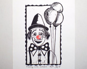 "Original Handmade Limited Edition Linocut Print, 6"" x 8"", Small size Art, Hand-pulled print, clown, balloons, wall decor, nursery gift"