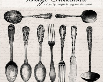 50% off SALE! Vintage silverware, digital clip art and photoshop brushes: Commercial and Personal Use